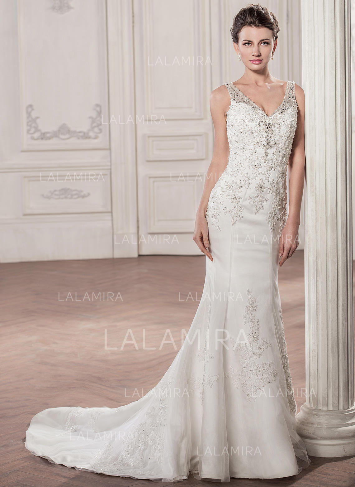 Sweetheart Trumpet Mermaid Wedding Dresses Tulle Beading Appliques Lace  Sequins Sleeveless Court Train (002058795. Loading zoom d4d6646c0