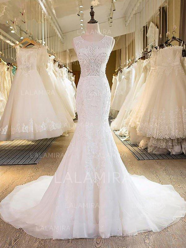 Trumpet/Mermaid Scoop Sweep Train Wedding Dress With Embroidered ...