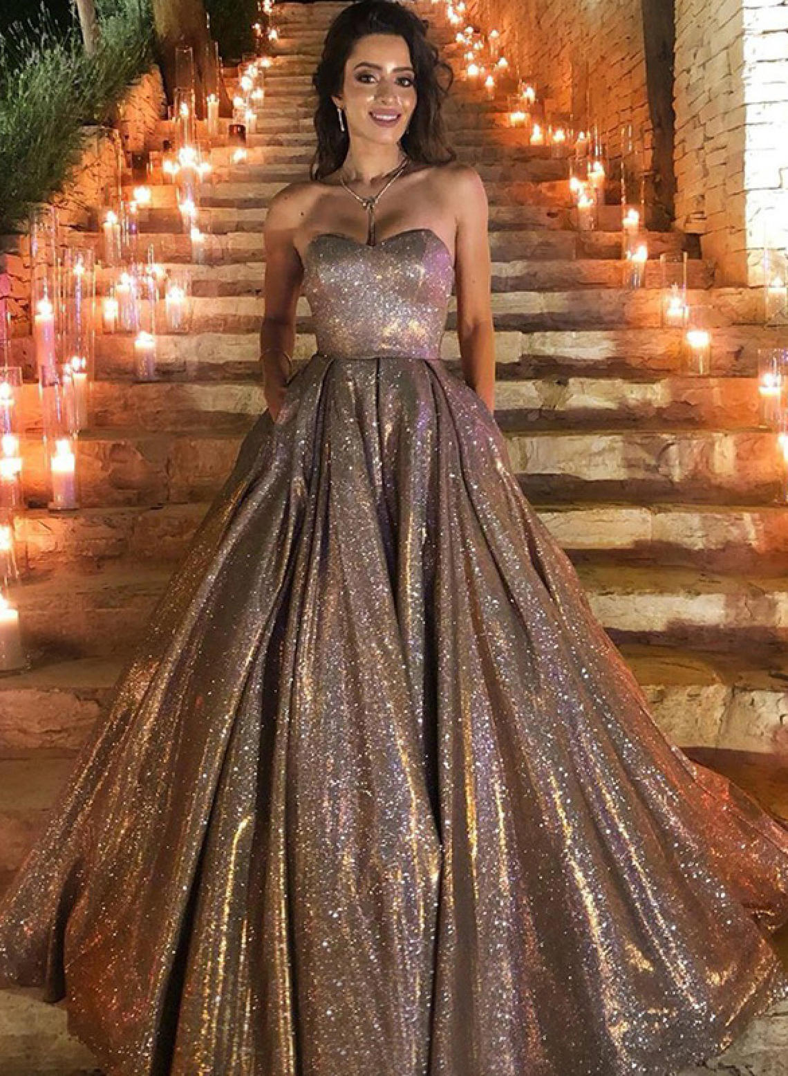 Beaded Metallic Fit and Flare Prom Dress   Morilee