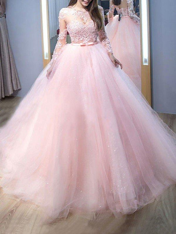 Sweep Train Sleeves Tulle Ball-Gown Prom Dresses