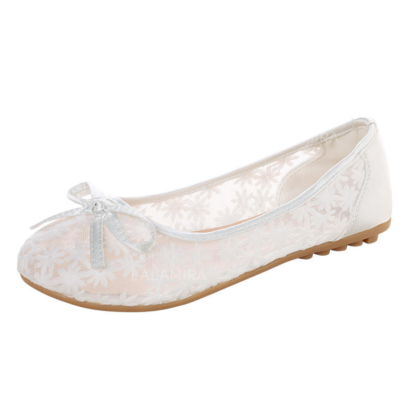 No Heel Wedding Shoes: Women's Flat Heel Lace With Bowknot No Wedding Shoes