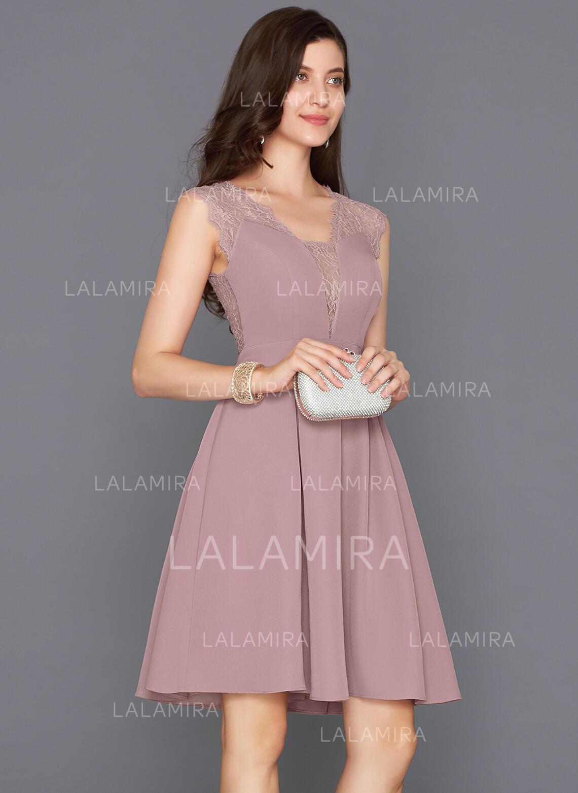 a61419687c 2019 New Satin Homecoming Dresses A-Line Princess Knee-Length V-neck. Loading  zoom