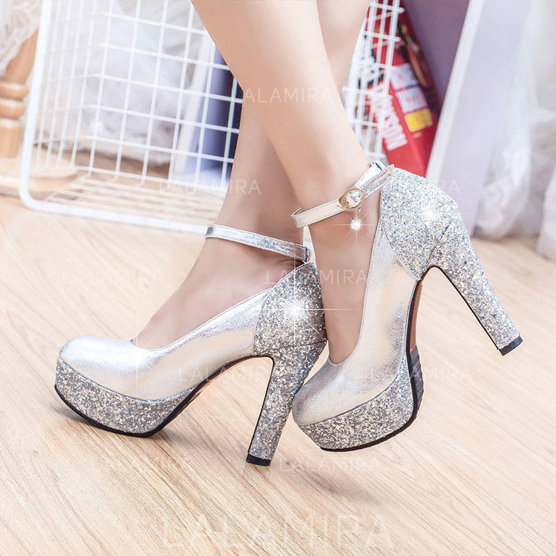 ca6001e93cc40 Women's Closed Toe Platform Pumps Chunky Heel Leatherette With Sparkling  Glitter Wedding Shoes (047208189). Loading zoom