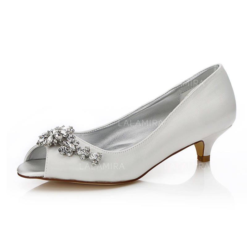 bd5e57057a7 Women s Peep Toe Dyeable Shoes Low Heel Satin With Rhinestone Wedding Shoes  (047205937). Loading zoom