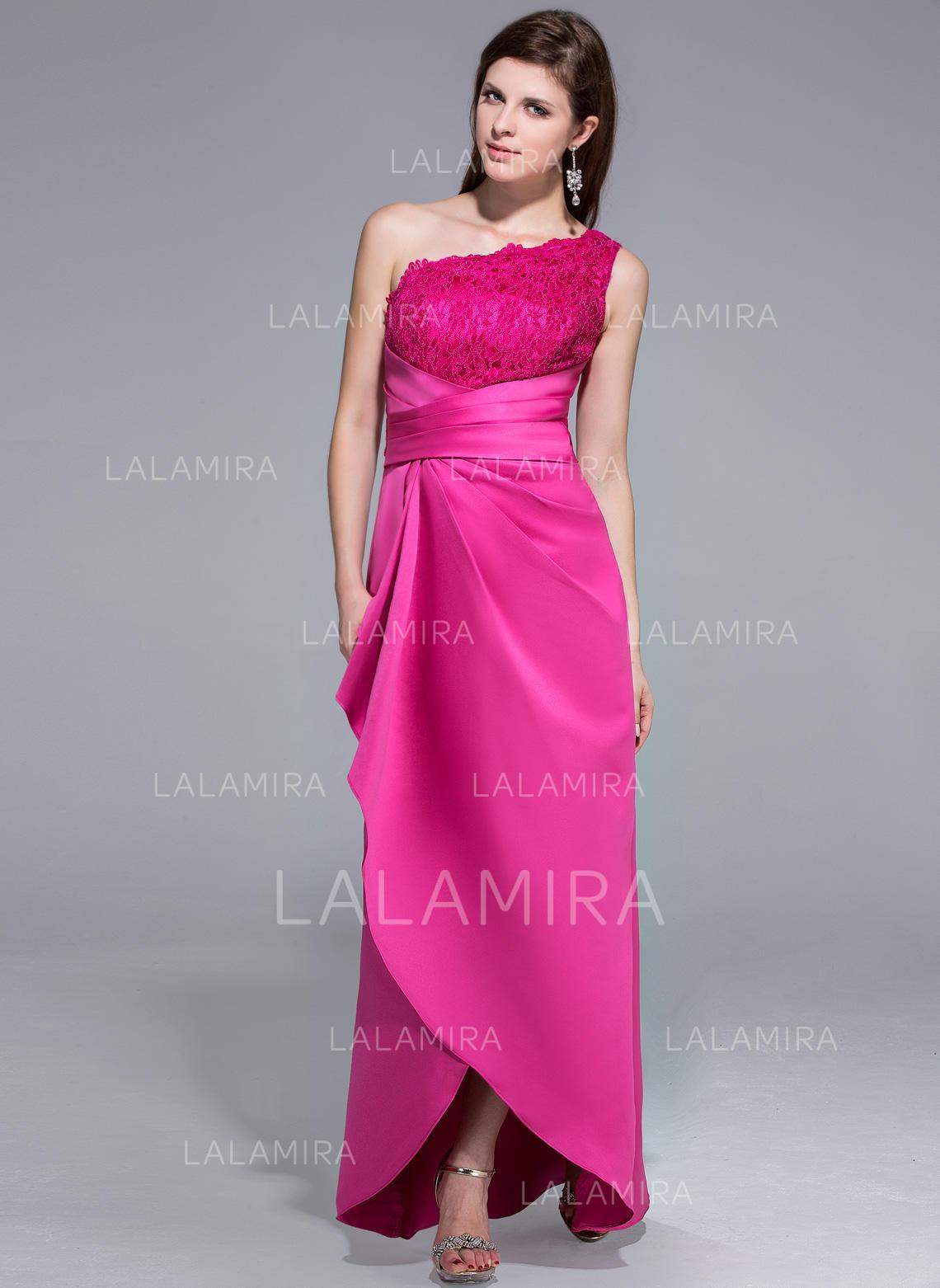 Sheath/Column One-Shoulder Asymmetrical Satin Lace Evening Dress ...