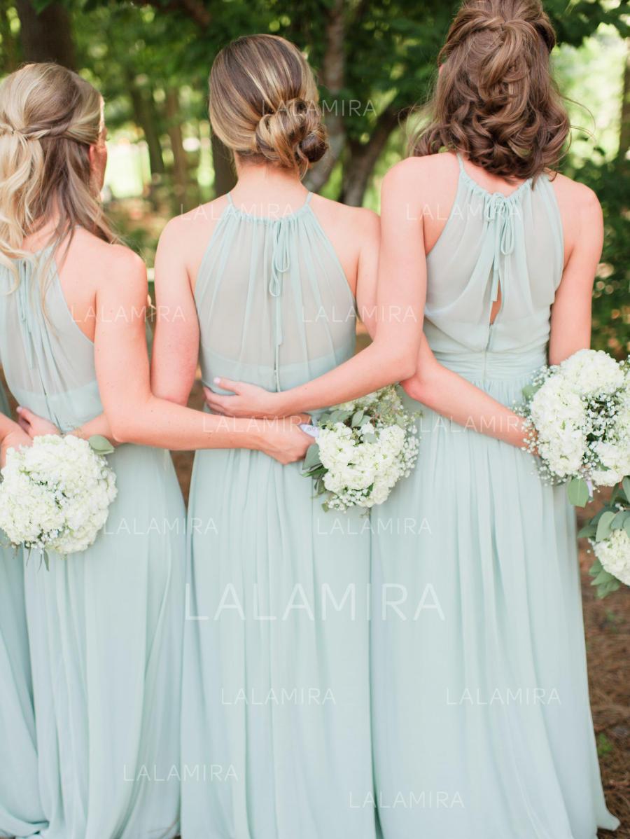 A-Line/Princess Scoop Neck Floor-Length Chiffon Bridesmaid Dresses ...