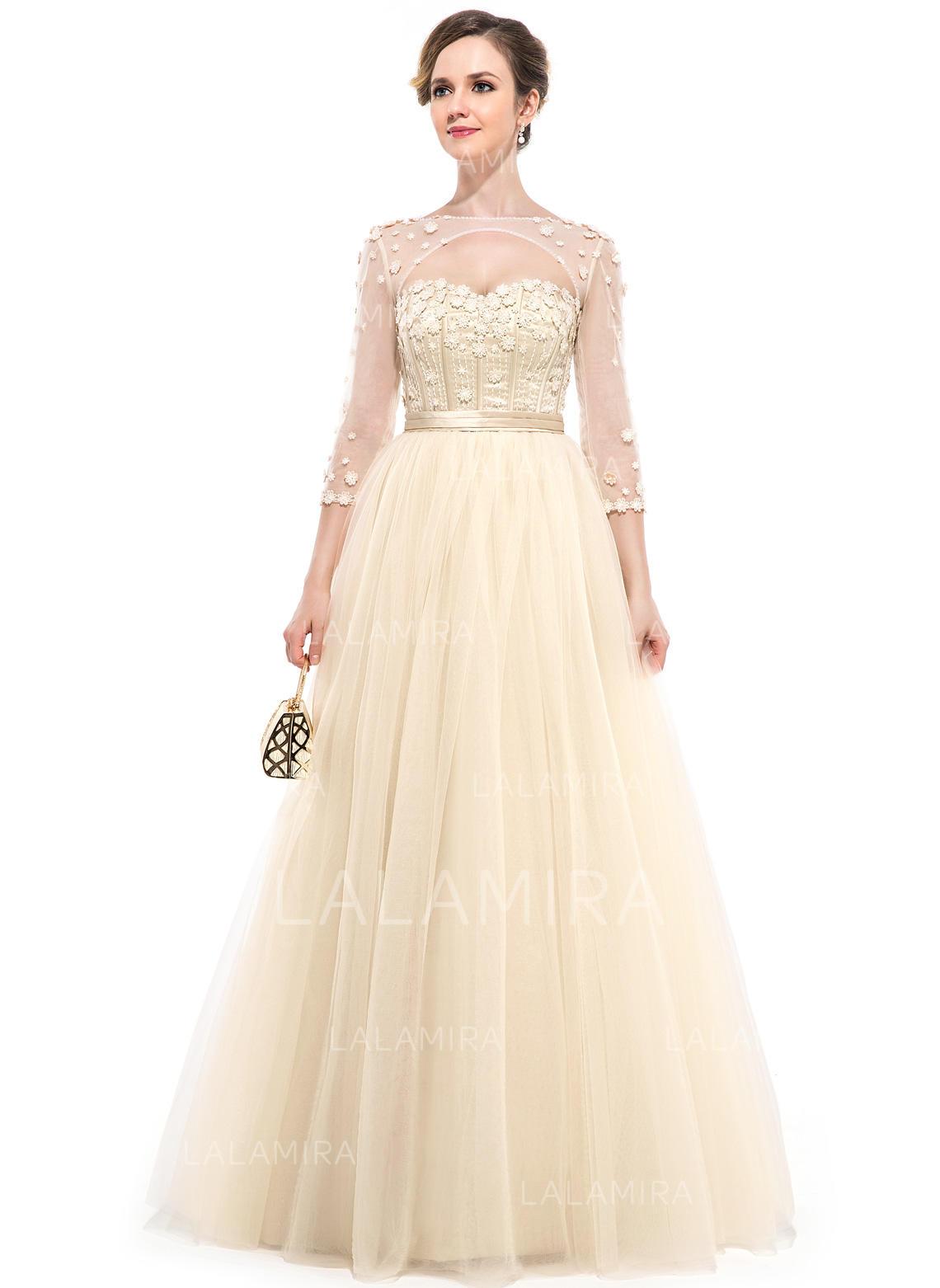 tulle 3/4 sleeves floor-length - ball-gown prom dresses