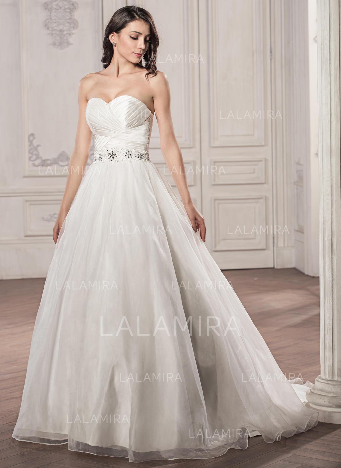 Sweetheart Ball-Gown Wedding Dresses Satin Organza Ruffle Beading Sequins  Sleeveless Court Train (002059190. Loading zoom 063d303c1