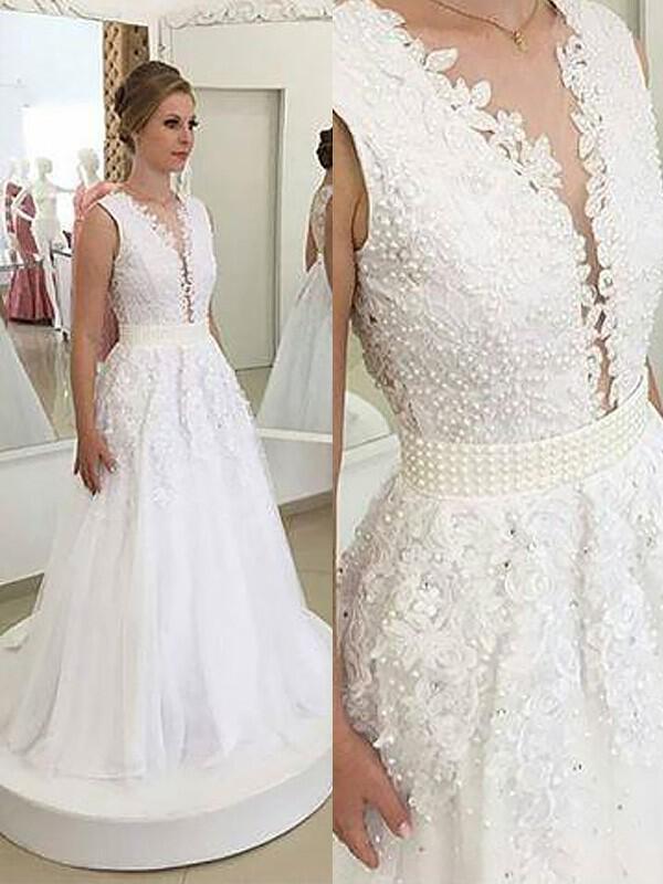 A-Line Princess Tulle Sleeveless V-neck Sweep Train Wedding Dresses  (002147980. Loading zoom 94fbeb18c