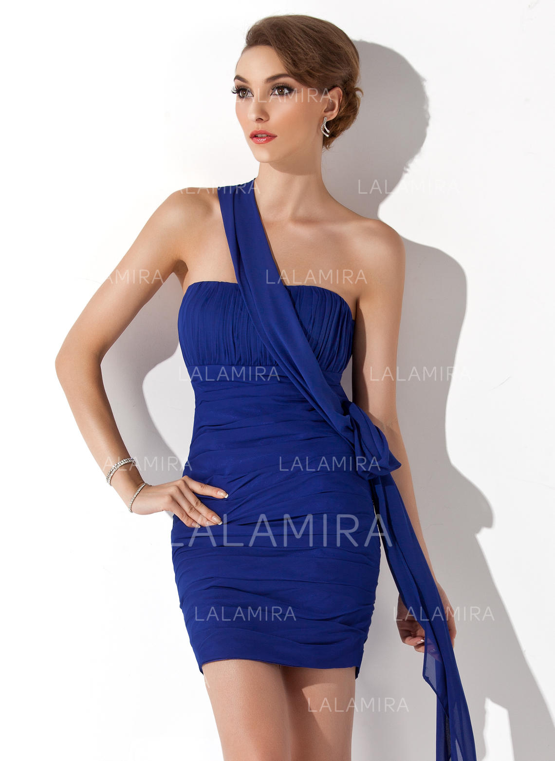 68d2432f3831 Sheath/Column Chiffon Prom Dresses Ruffle One-Shoulder Sleeveless  Short/Mini (018135282. Loading zoom