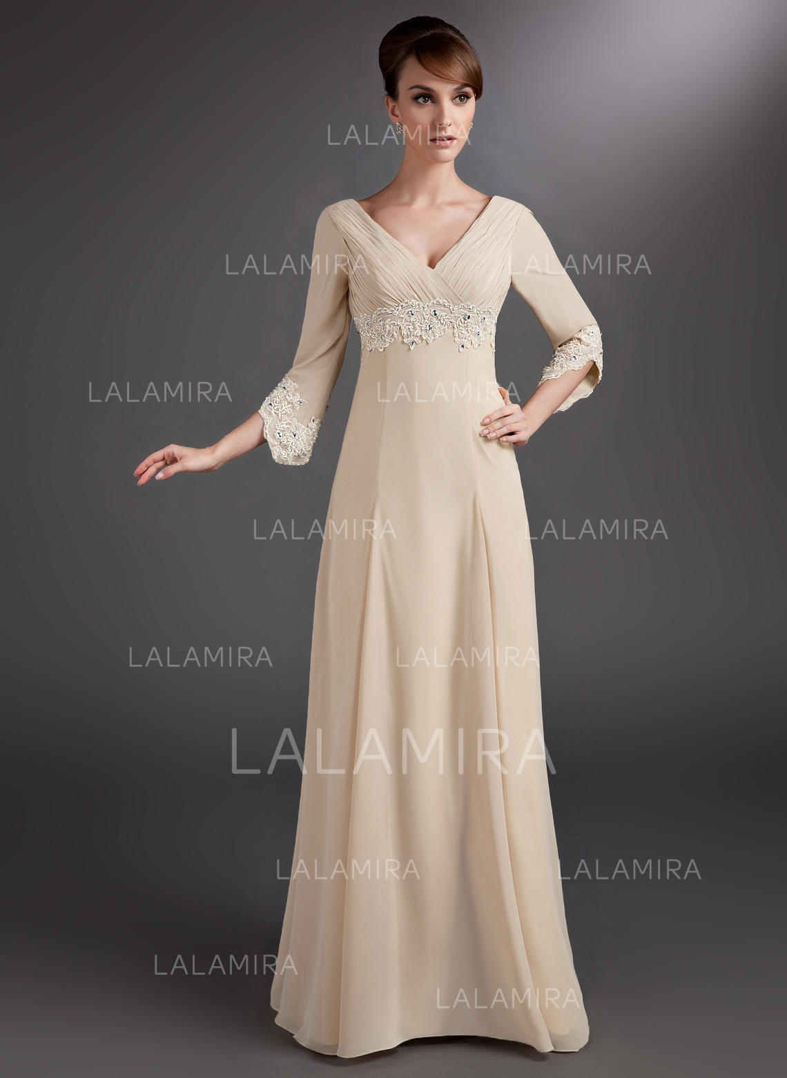 1dc79d7e44a Empire Chiffon 3 4 Sleeves V-neck Floor-Length Zipper Up Mother of. Loading  zoom