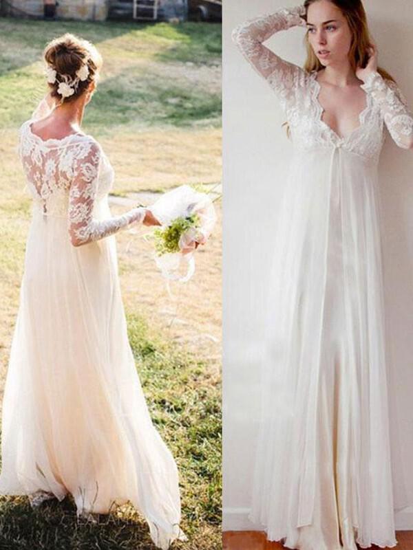 deep v neck empire wedding dresses chiffon lace long sleeves floor-length