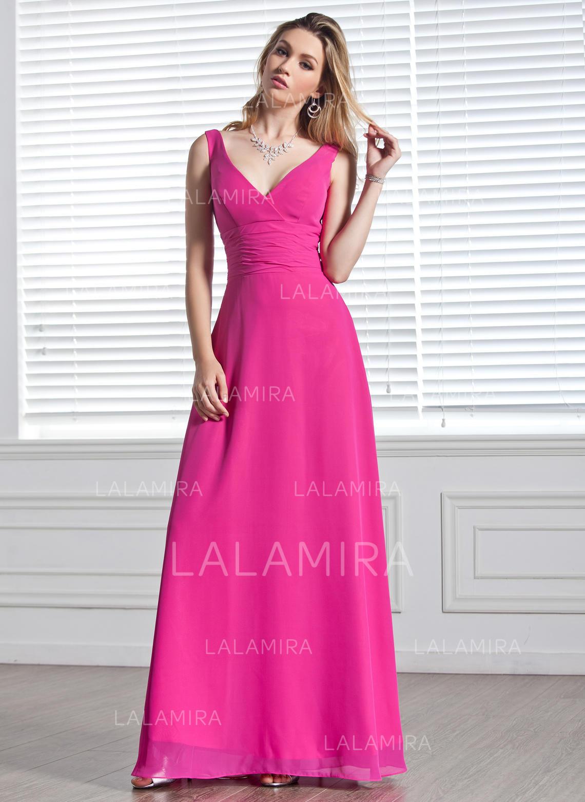 4fe303af2 Vestidos princesa/ Formato A Tecido de seda Vestidos de madrinha Pregueado  Decote V Sem magas. Loading zoom. Carregando