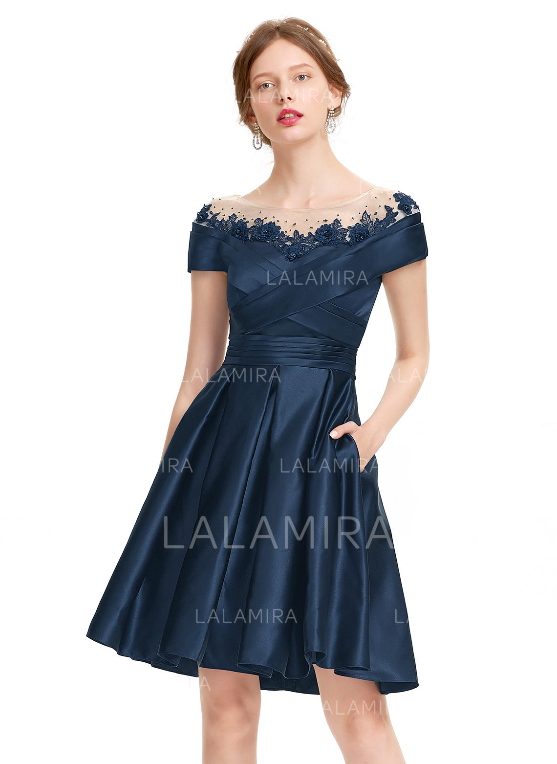 60b11fd535376 A-Line/Princess Scoop Neck Knee-Length Satin Cocktail Dress With Ruffle  Beading. Loading zoom