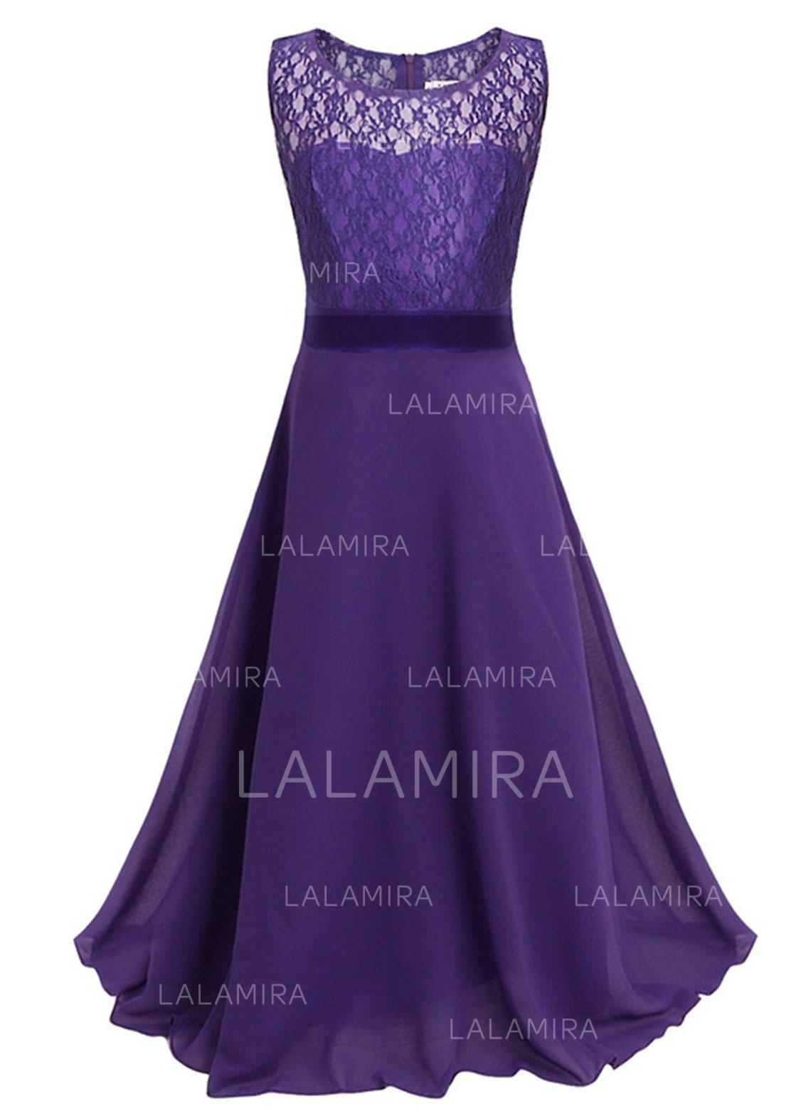 6d58231e30c A-Line Princess Floor-length Flower Girl Dress - Chiffon Lace Sleeveless. Loading  zoom
