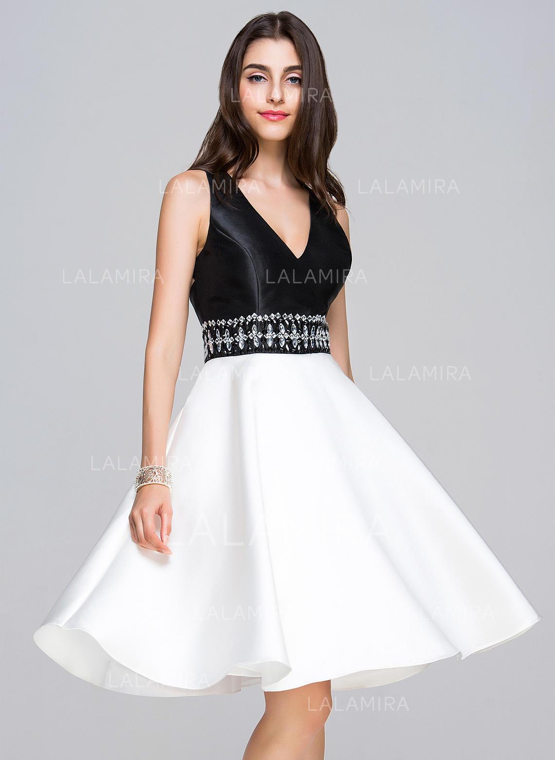 1236e355f3 A-Line Princess Knee-Length Homecoming Dresses V-neck Satin Sleeveless (. Loading  zoom