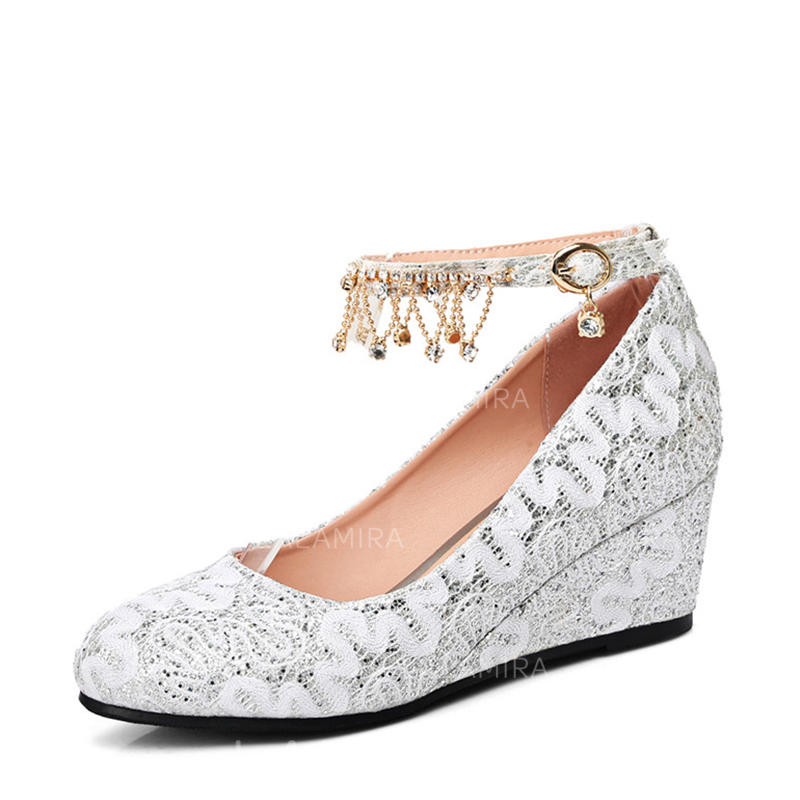 Women's Closed Toe Wedges Wedge Heel Lace With Buckle