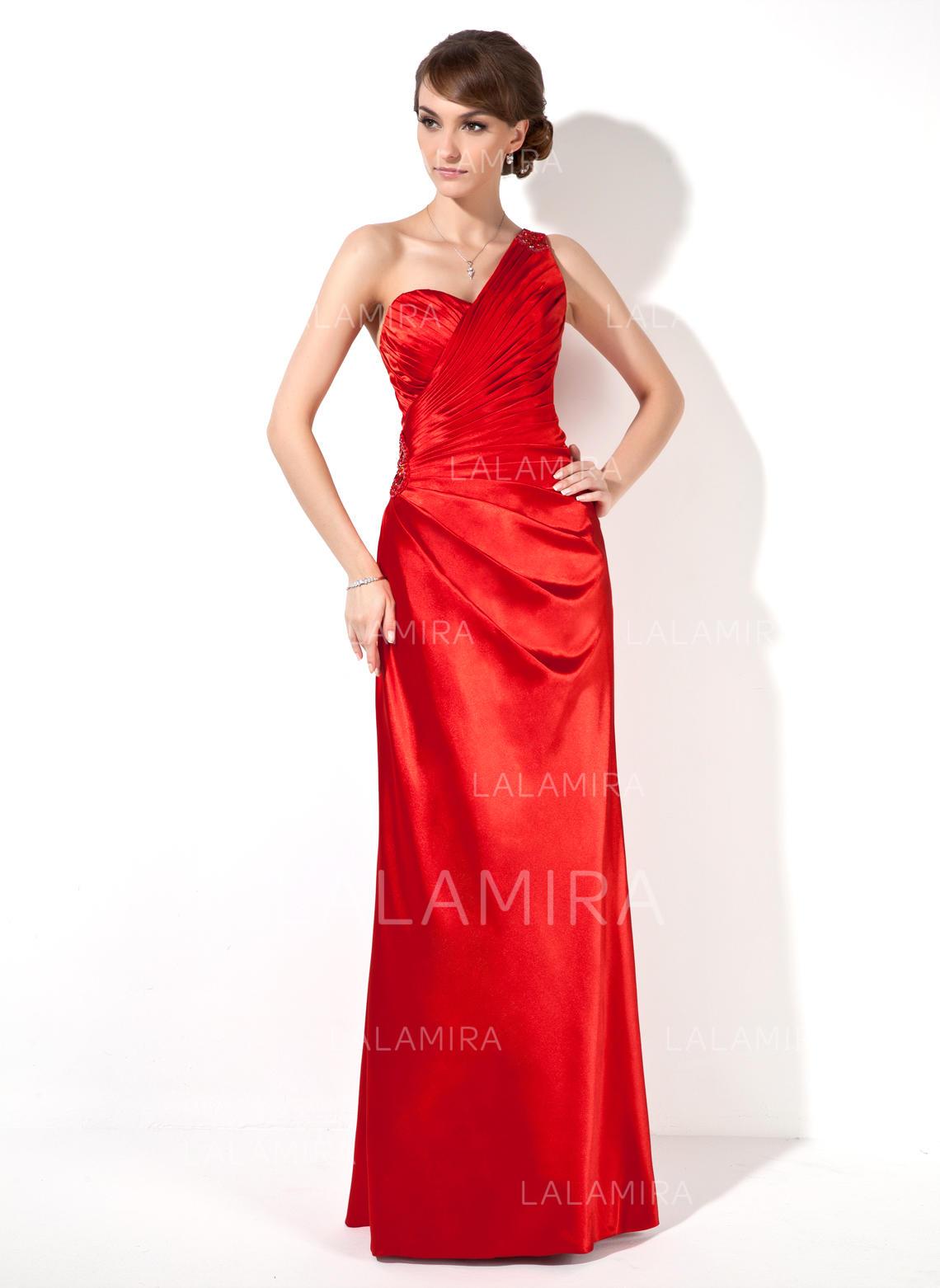 47cab1d7aa272 Glamour Charmeuse Robes de soirée Forme Fourreau Longueur ras du sol Seule- épaule Sans manches. Loading zoom