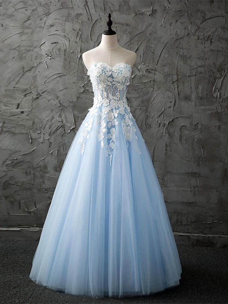 A-Line/Princess Sweetheart Floor-Length Tulle Prom Dresses With Lace ...