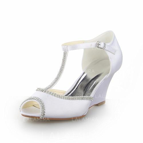 Talon À Sandales Avec Strass Compensé Satiné Chaussures De Compensée Mariage047058353 Bout Femmes Ouvert TFc1KlJ