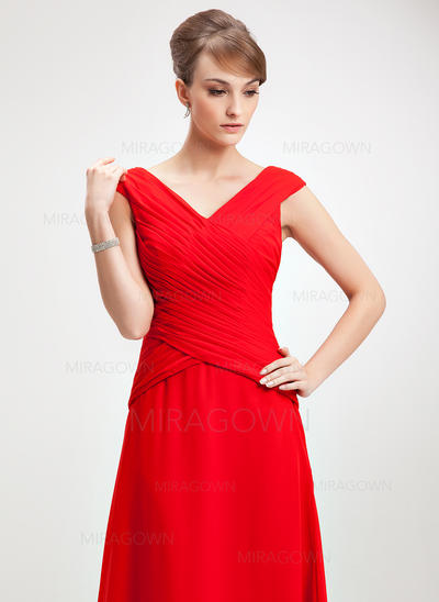 A-formet/Prinsesse Chiffong Uten Ermer V-hals Gulvlengde Glidlås Kjoler til Brudens Mor (008006264)