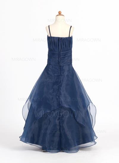Amoureux Sans manches Robes de demoiselle d'honneur - fillette Plissé Sans manches Longueur ras du sol Forme Princesse (010007669)