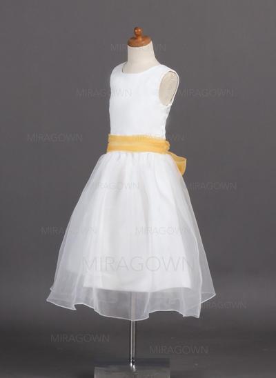 Princesse Col rond Forme Princesse Robes de demoiselle d'honneur - fillette Longueur mollet Organza/Satiné Sans manches (010007925)