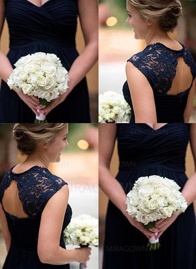 Elegant Chiffong Brudepikekjoler A-formet/Prinsesse Gulvlengde kjæreste Uten Ermer (007144973)