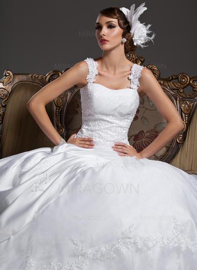 Robe Marquise Satiné Organza Sans manches Chérie Traîne moyenne Bretelles classiques Robes de mariée (002196839)