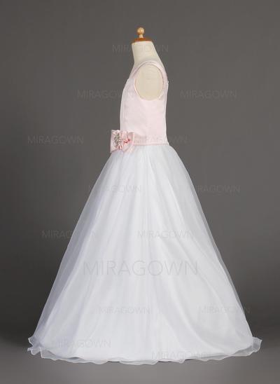 Princesse Col rond Forme Princesse Robes de demoiselle d'honneur - fillette Longueur ras du sol Organza/Satiné Sans manches (010002160)