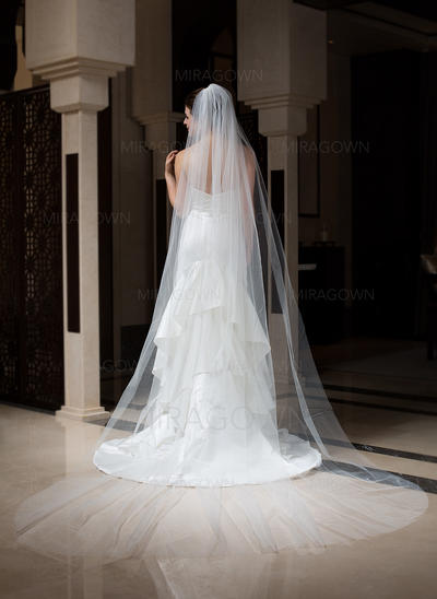 Voiles de mariée cathédrale Tulle 1 couche Voile goutte avec Bord de coupe Voiles de mariage (006034101)