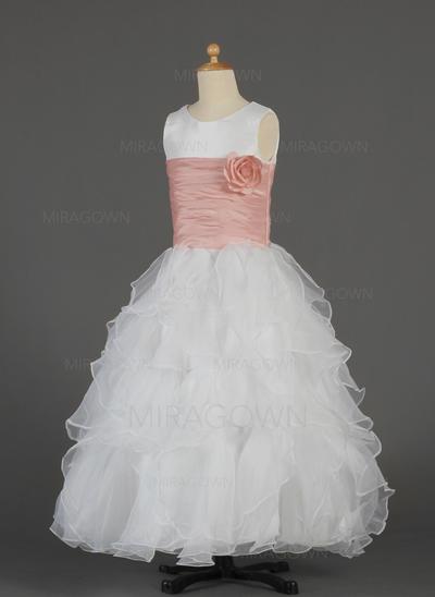 Luxueux Col rond Forme Princesse Robes de demoiselle d'honneur - fillette Longueur ras du sol Taffeta/Organza Sans manches (010014632)