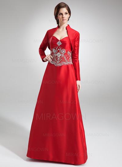 Magnifique Taffeta Robes demoiselle d'honneur Forme Princesse Longueur ras du sol Amoureux Sans manches (007002101)