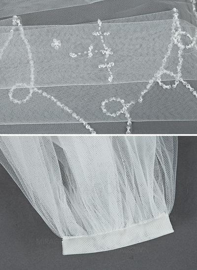 Albue Brude Slør Tyll To-lags Klassisk stil med Beaded Kant/Kant Paljetter Elektrisk Brudeslør (006035451)
