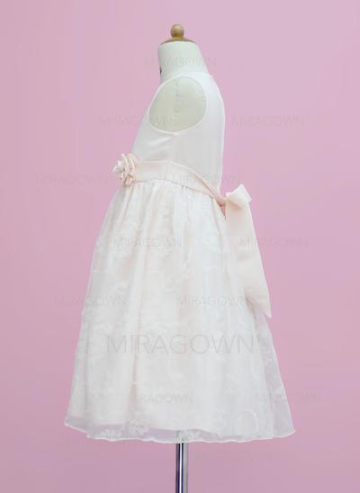 Glamour Col rond Forme Princesse Robes de demoiselle d'honneur - fillette Longueur mollet Satiné/Dentelle Sans manches (010005342)