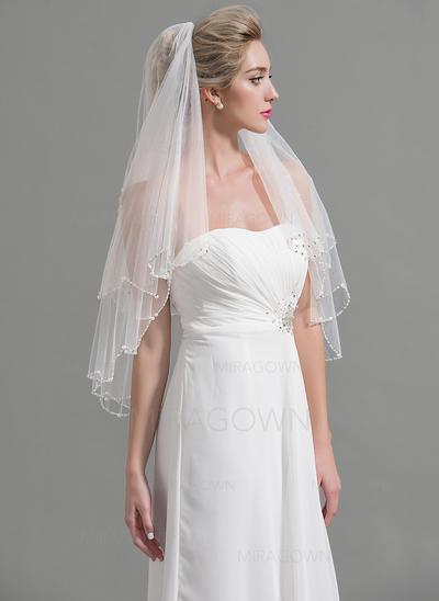 Voile de mariée longueur bout des doigts Tulle 2 couches Style Classique avec Bord perlé Voiles de mariage (006094946)