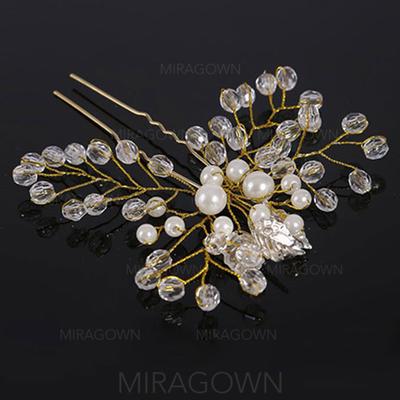 Elegant Crystal/Imitert Perle Hårnåler (Selges i ett stykke) (042130204)