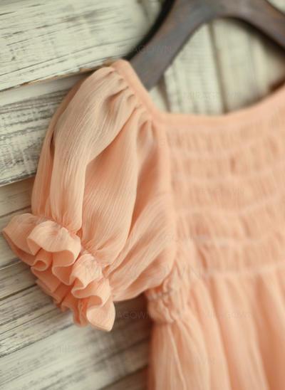 Simple Encolure carrée Robe Empire Robes de demoiselle d'honneur - fillette Longueur genou Mousseline de soie Manches courtes (010196718)