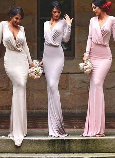 Forme Fourreau Jersey Robes demoiselle d'honneur Plissé Col V Manches longues Longueur ras du sol (007145000)