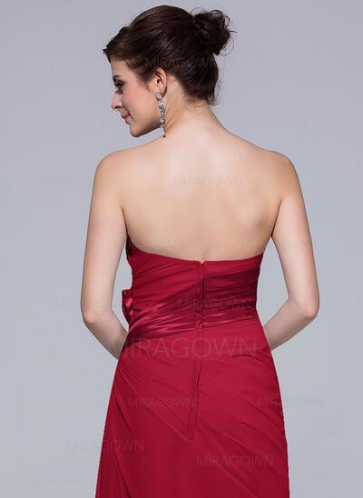 Forme Fourreau Amoureux Longueur ras du sol Mousseline Robe de demoiselle d'honneur avec Plissé (007037302)