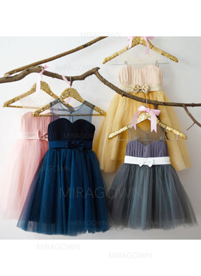 Forme Princesse Longueur genou Robes à Fleurs pour Filles - Mousseline/Tulle Sans manches Col rond avec À ruban(s) (010146220)