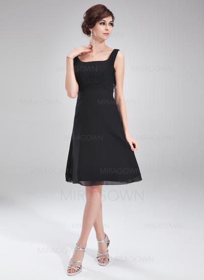 Forme Princesse Mousseline Robes demoiselle d'honneur Plissé À ruban(s) Encolure carrée Sans manches Longueur genou (007051846)