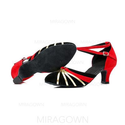 Femmes Salle de bal Sandales Suède avec Ouvertes Chaussures de danse (053103009)