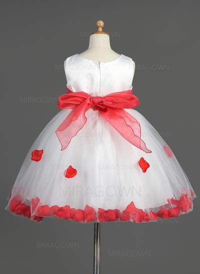 Col rond Sans manches Robes de demoiselle d'honneur - fillette Ceintures/Fleur(s)/À ruban(s) Sans manches Longueur genou Robe Empire (010014603)