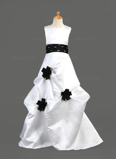 Raffiné Col rond Forme Princesse Robes de demoiselle d'honneur - fillette Longueur ras du sol Satiné Sans manches (010002149)