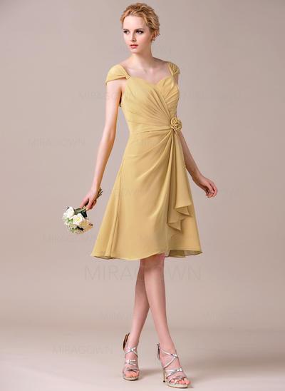 Renversant Mousseline Robes demoiselle d'honneur Forme Princesse Longueur genou Amoureux Sans manches (007198737)