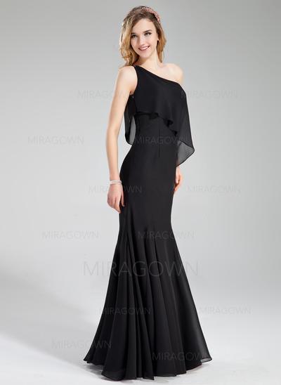 Forme Sirène/Trompette Mousseline Robes demoiselle d'honneur Seule-épaule Sans manches Longueur ras du sol (007197774)