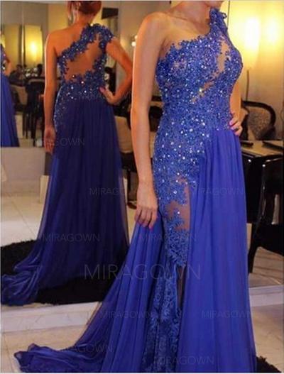 Glamour Mousseline Robes de soirée Forme Princesse Traîne moyenne Seule-épaule Sans manches (017196752)