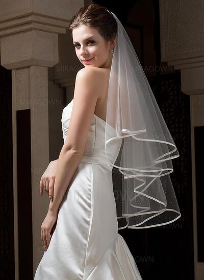 Voile de mariée longueur bout des doigts Tulle 2 couches Style Classique avec Bord en ruban Voiles de mariage (006034301)
