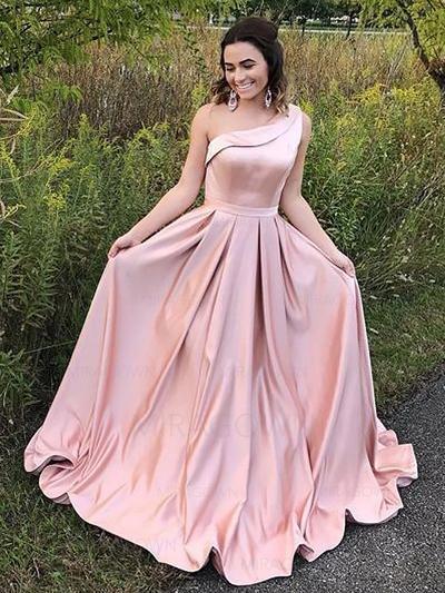 Forme Princesse Satiné Robes de bal Plissé Seule-épaule Sans manches Longueur ras du sol (018148424)